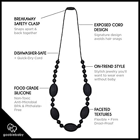 Goobie Baby Emma Silicone Teething Necklace for Mom to Wear Grey Safe BPA Free Beads to Chew