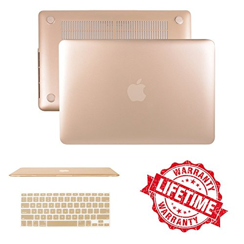 Gold Rubberized Case with Keyboard Cover Compatible MacBook 12(A1534), IC ICLOVER Ultra Slim Light Weight Matte Hard Plastic Protective Cover Shock Water Dust Scratch Resistant