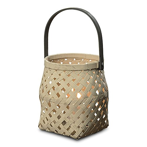 Whole House Worlds The Naturally Modern Basket Hurricane Lantern, Contrast Black Handle, Made by Hand, 5½ Diameter x 6¼ Inches Tall, Adjustable Handle, Glass Candle Cup Included, By (Basket Weave Candle Holder)