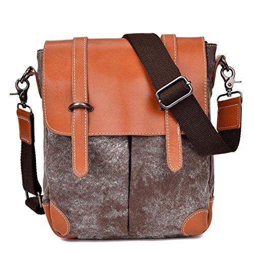 OOLIFENG Bolsa de mensajero bolsa de mensajero de cuero bolso de lona de los hombres , black Brown