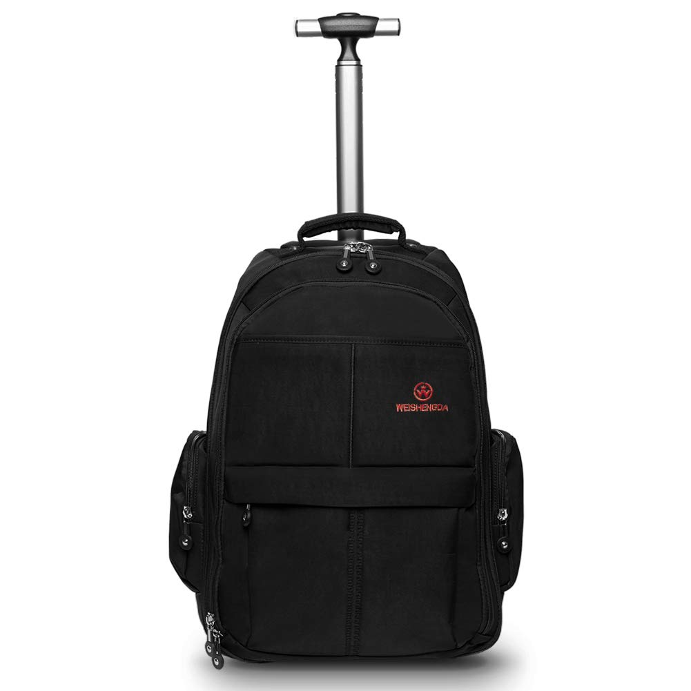 607454d34d7a WEISHENGDA 19 inches Waterproof Wheeled Rolling Backpack for Men and Women  Business Laptop Travel Bag, Black
