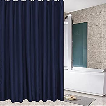 Eforcurtain Standard Size Solid Fabric Shower Curtain Mildew Resistant And Waterproof Set With
