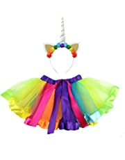 Toyvian Girls Unicorn Costume Unicorn Horn Headband Layered Rainbow Tutu Skirt Little Girls Rainbow Costume Party Fancy Dress (White Horn, Size M Suitable for 3-6 Years Old)