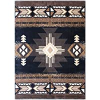 Champion Rugs Southwest Native American Area Rug Black Design #CR127 (24 Inch X 40 Inch Mat)