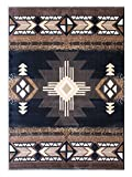 Champion Rugs Southwest Native American Area Rug Black Design #CR127 (5 Feet 2 Inch X 7 Feet)