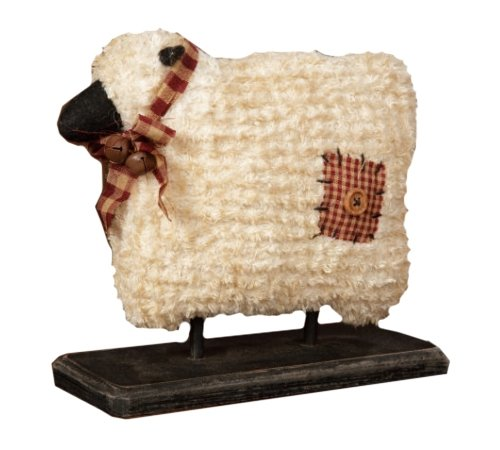 Your Heart's Delight Chenille Fabric Sheep on Wood Base, 8-Inch