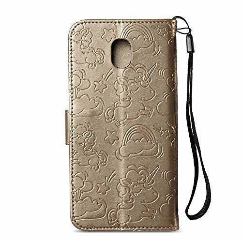 Funda Galaxy J5 2017, Dfly Premium PU Cuero En Relieve Unicornios Diseño Case Cierre Magnético & Función de Soporte Tarjeta Slots Flip Billetera Carcasa para Samsung Galaxy J5 2017(SM-J530F), Azul Oro