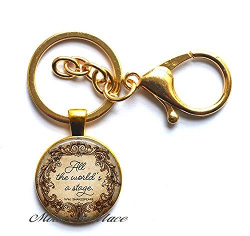 Charm Keychain, Fashion Keychain, Dainty Keychain, Simple Keychain,All The World's a Stage Quote Keychain, Quote Theater Gift, Theatre Gift Literary Jewelry, Quote jewelry-ZE134 -