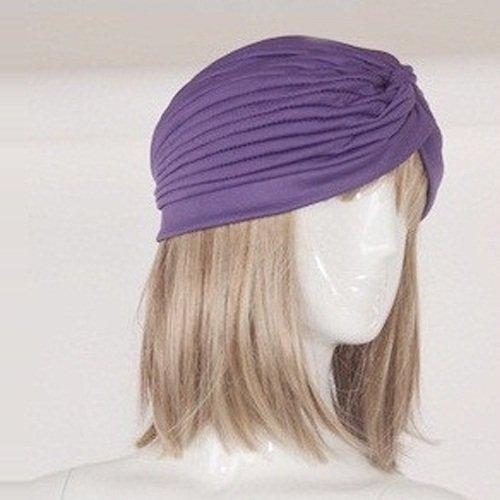 Fashion Women Gathered Knot Pleated Rib Design Turban Headband Head Band Hat Case, Purple by Unknown