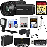 Panasonic HC-VX1 Wi-Fi 4K Ultra HD Video Camera Camcorder 64GB Card + Hard Case + 3 UV/CPL/ND8 Filters + Tripod + LED Light + Microphone + Kit