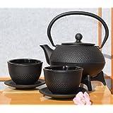 Bicchieri, Star 125 & Sottopentola in ghisa, colore: nero, superficie chiodata 0,6 Teiera bollitore in stile giapponese Tetsubin litro
