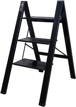 BAOYOUNI - Escalera plegable de aluminio para escalones con pedal antideslizante ancho para el hogar, la oficina, la pintura y las macetas, negro: Amazon.es: Hogar