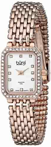Burgi Women's BUR098 Crystal Accented Swiss Quartz Watch Bracelet