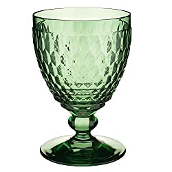 Green Crystal Boston Wine Goblet Set of 4