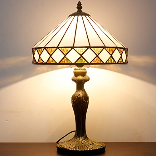 Tiffany style table lamp light S050 series 18 inch tall white Polygon shade E26 Art Nouveau Desk