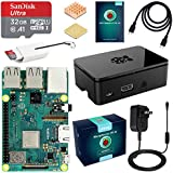 ABOX Raspberry Pi 3 Model B+ (B Plus) Starter Kit with 32GB Micro SD Card, 5V 2.5A On/Off Switch Power Supply, Premium Black Case, HDMI Cable, SD Card Reader with USB A&USB C, Heatsinks