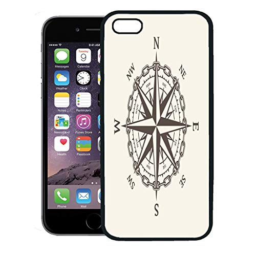 Semtomn Phone Case for iPhone 8 Plus case Cover,Vintage Wind Rose Nautical Compass for Marine and Heraldry Cartography Adventure,Rubber Border Protective -