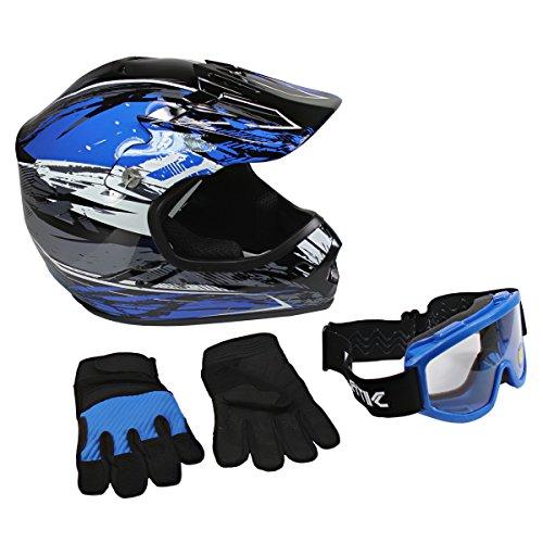 Lunatic, KIT-L2006B-15, Youth MX/ATV Helmet, Goggles & Gloves - DOT Approved - Boys Girls Kids - Blue, L