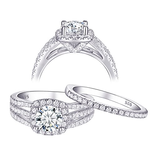Newshe Engagement Rings Wedding Sets for Women 925 Sterling Silver 2ct Round White AAA Cz Size 10