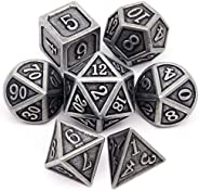 Haxtec Antique Iron DND Metal Dice Set Silver D&D Polyhedral Dice for Dungeons and Dragons