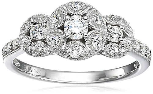 14k White Gold 1/2CTTW Three Stone Diamond Ring (1/2cttw, H I Color, I1 I2 Clarity), Size 7