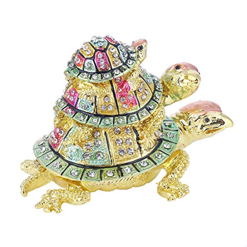 YUFENG Turtle Trinket Jewelry Box with Sparkling Crystals,Hinged Trinket Box Hand-Painted Figurine Collectible Ring Holder