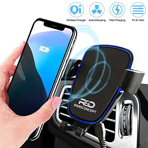 Randconcept - Air Vent Wireless Car Charger Mount, Automatic Clamping Qi 10W 7.5W Fast Charging 5W Car Mount - Compatible for iPhone X Xs XR 8, Samsung Galaxy S10 S9 S8 S7 Edge and Qi-Enabled Phone