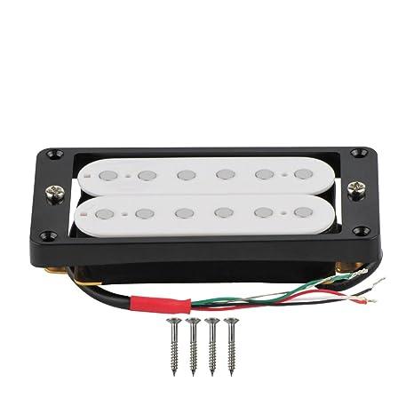 FLEOR doble bobina Humbucker para guitarra eléctrica pastilla con marco negro curvado ajuste para LP Guitarra