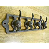 Cast Iron 4 Hook Dog Tail Key and Leash Rack