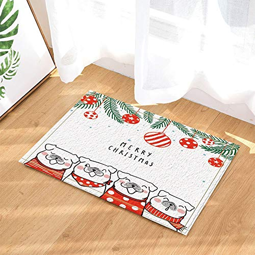 New Year Decoration,Dog Dressed Up Christmas Scarf with Christmas Ball Spruce Branches Bathroom Rug,3D Hd Printing Will Not Fade Indoor Non-Slip Door Mat,Children's Bathroom Carpet,15.7X23.6 Inch]()