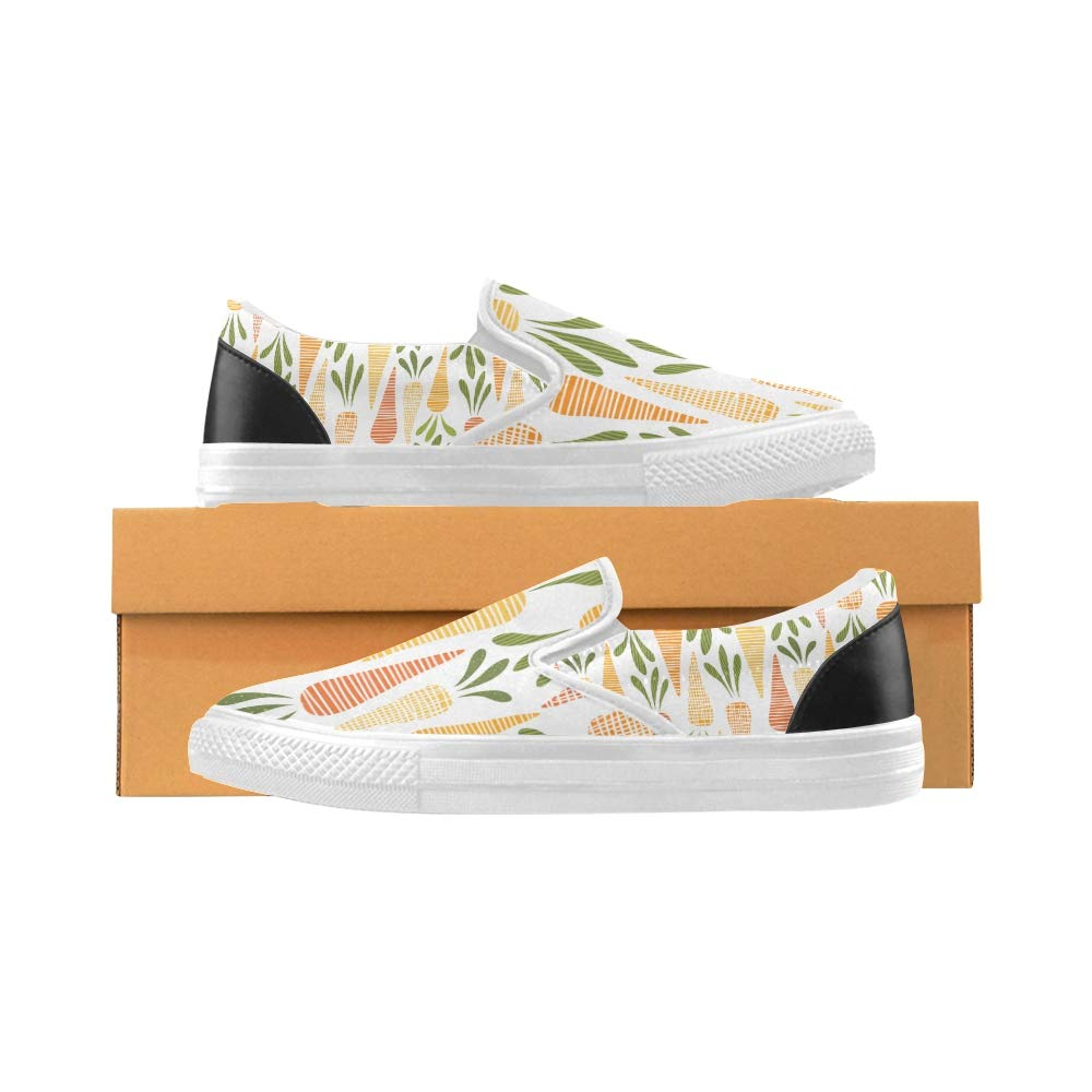 Canvas Shoes for Painting Cute Carrots Pattern Carrot Canvas Slip-on Casual Printing Comfortable Low Top Travel Hiking Shoes Men