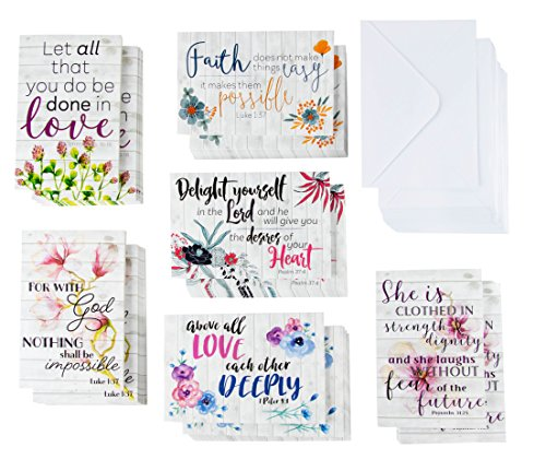 Inspirational Quote Cards – 60-Pack Inspiring Religious Motivational Cards, 6 Unique Designs, Bulk Box Set, Envelopes Included, 4 x 6 Inches -