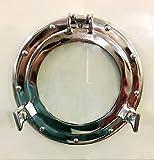 Marine Nautical Store 11'' Nickel Plated Aluminum Porthole-Window Ship Round Glass Wall Decor Porthole