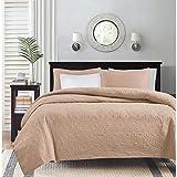 Madison Park Quebec 3 Piece Reversible Quilt Set Coverlet Bedding, King/California King, Blush