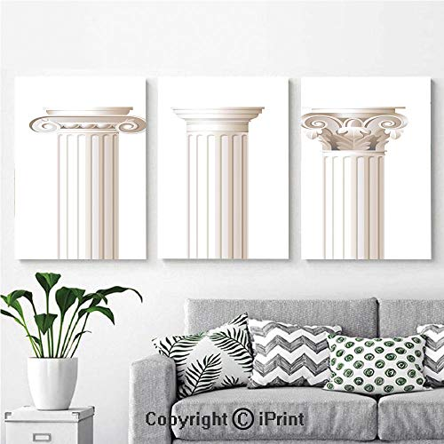 (Modern Gallery Wrapped Canvas Print Architecture Theme Design Ionic Doric and Corinthian Marble Columns Digital Print 3 Panels Pictures on Canvas Wall Art Ready to Hang for Living Room Kitchen Home D)