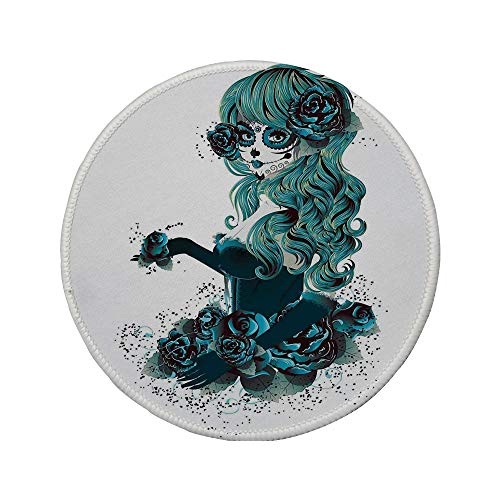 (Non-Slip Rubber Round Mouse Pad,Skull,Vintage Sugar Skull Girl Day of The Dead Bride with Dark Color Roses Graphic Decorative,Petrol Blue White,7.87