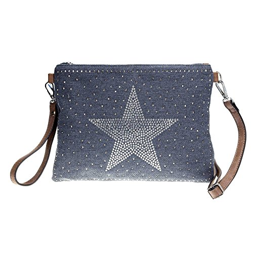 ROSENROT - STARS - Umhängetasche aus Canvas/Lederoptik, Stern aus Strass, 28x20cm Blau