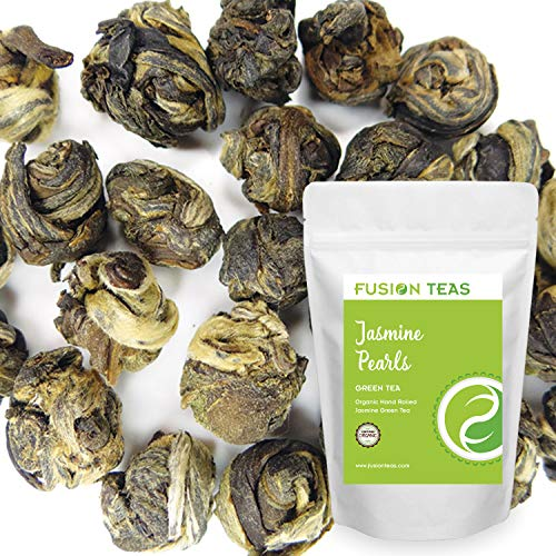 (Organic Jasmine Pearls Green Tea - Gourmet Floral Scented Chinese Loose Leaf Tea - 5 Oz. Pouch)