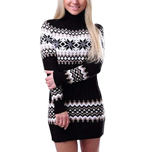 48a592329f57 Women's Turtleneck Sweater Short Dress, Christmas Snowflake Long ...