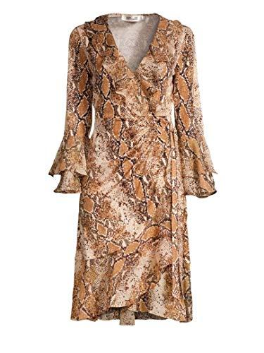 Diane von Furstenberg Carli Ruffled Trim Silk Wrap Dress in Python - Dress Furstenberg Diane Von Long