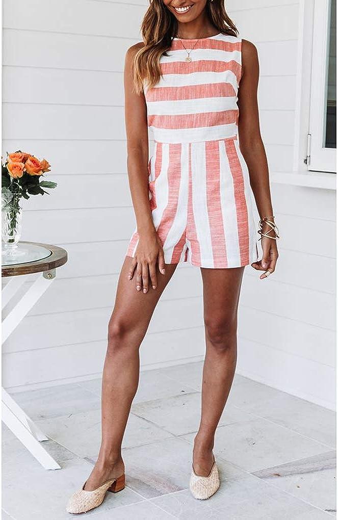 irene inevent Women Stripes Pattern Round Neck Playsuits Sleeveless Ladies Overalls Jumpsuit