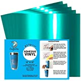 "Craftables Teal Metallic Craft Vinyl for Cricut and Silhouette, Cameo - Chrome Polish Finish Vinyl - (5) 12"" x 12"" sheets"