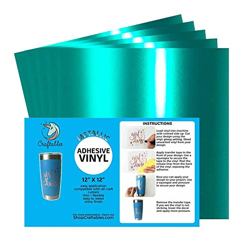 Craftables Teal Metallic Craft Vinyl for Cricut and Silhouette, Cameo - Chrome Polish Finish Vinyl - (5) 12 x 12 sheets