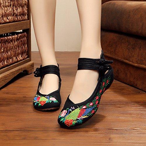 WXT Zapatos bordados, lenguado de tendón, estilo étnico, hembrashoes, moda, cómodo, zapatos de baile Black