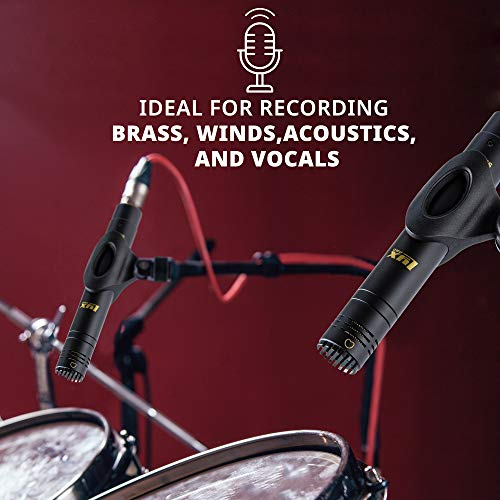 LyxPro SDPC-2 Stereo Pair of Pencil Condenser Stick Instrument Microphone Pair - Interchangeable Omni, Cardioid & Super Cardioid Capsules Included