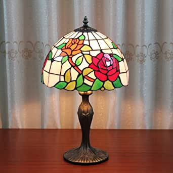 Tiffany 12 inch rose table lamp bedroom lamp bedside lamp for 12 inch bedside table