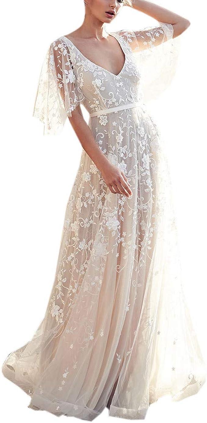 Felicove Damen Brautkleider, V-Ausschnitt Abendkleider Kurzarm Lace Vintage  Chiffonkleider Abend Partykleid S-XL