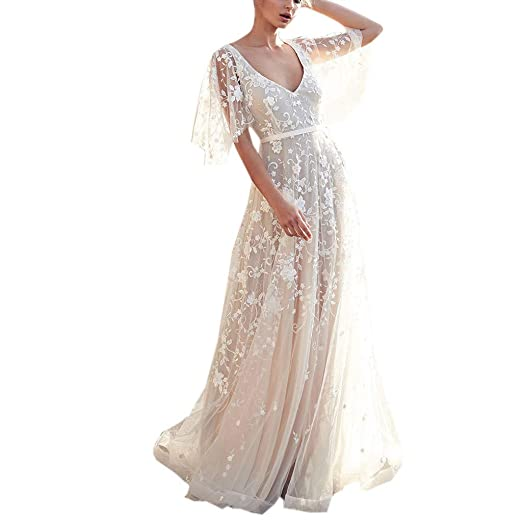 20c221a232a Pervobs Womens Elegant Short Sleeve Lace V Neck Backless Flowy Swing Gown  Evening Party Dress(