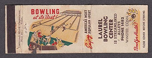 - Laurel Bowling Center 12 Streamlined Alleys Winsted CT matchcover