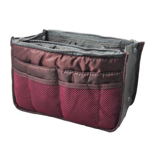 Smallwise Trading Handtasche Organizer Tasche Shopper Ordnung Reise Make Up Kosmetik Tool Stift (Wine Red)